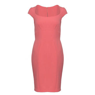 View Item SIZE 14 ONLY Pink Tailored Cap Sleeve Dress